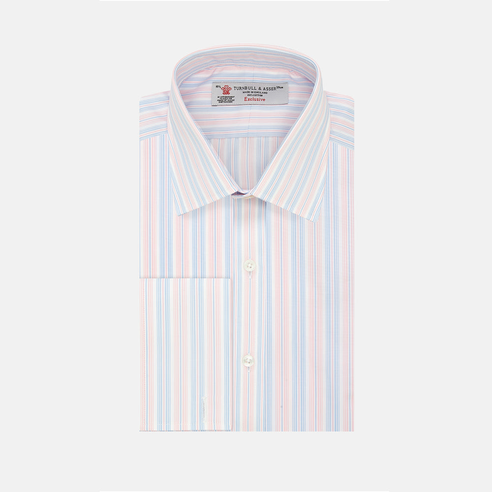 Pink, Blue & White Stripe Poplin Cotton Regular Fit Shirt with T&A Collar & Double Cuff