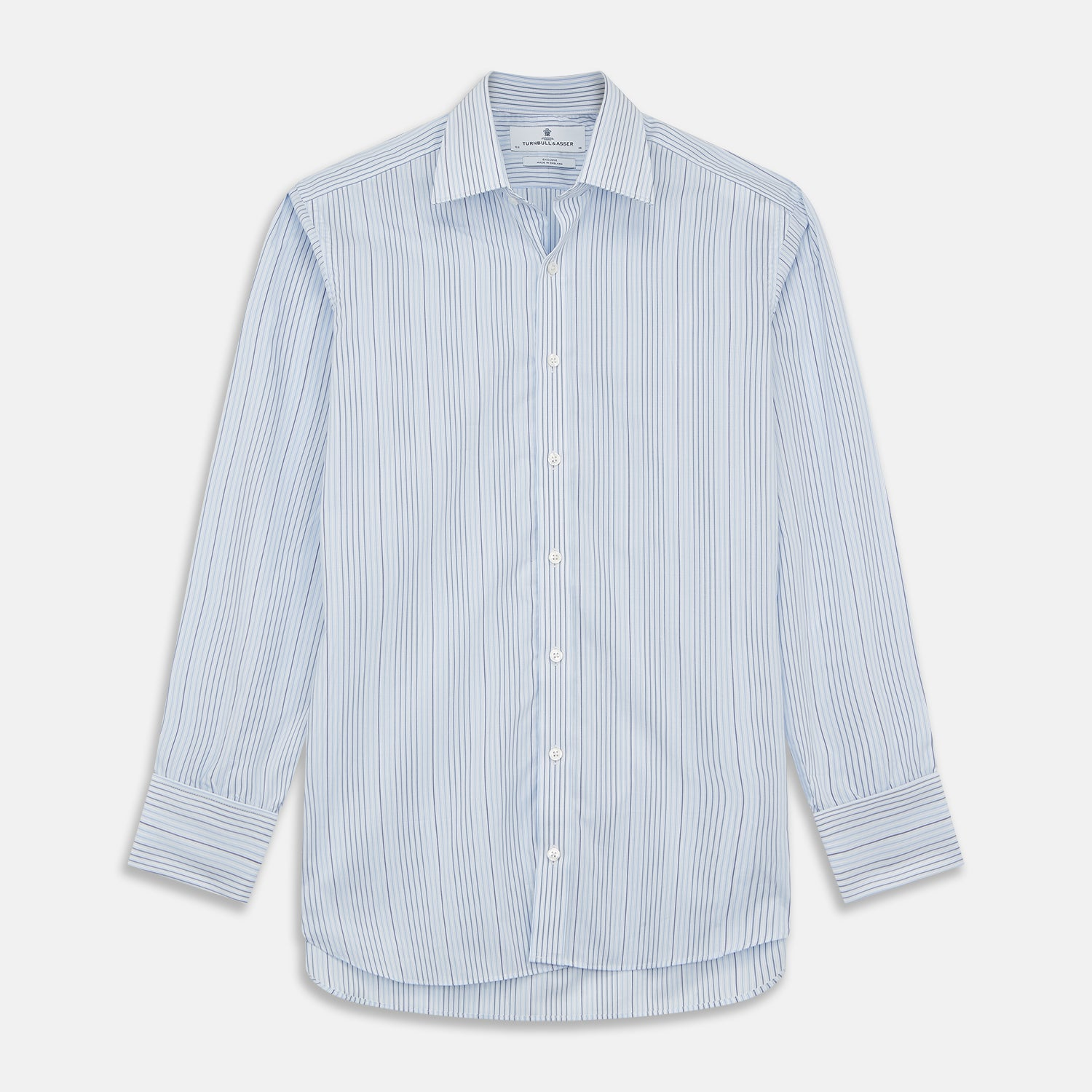 Blue And White Stripe Twill Cotton Regular Fit Shirt with T&A Collar And Double Cuffs