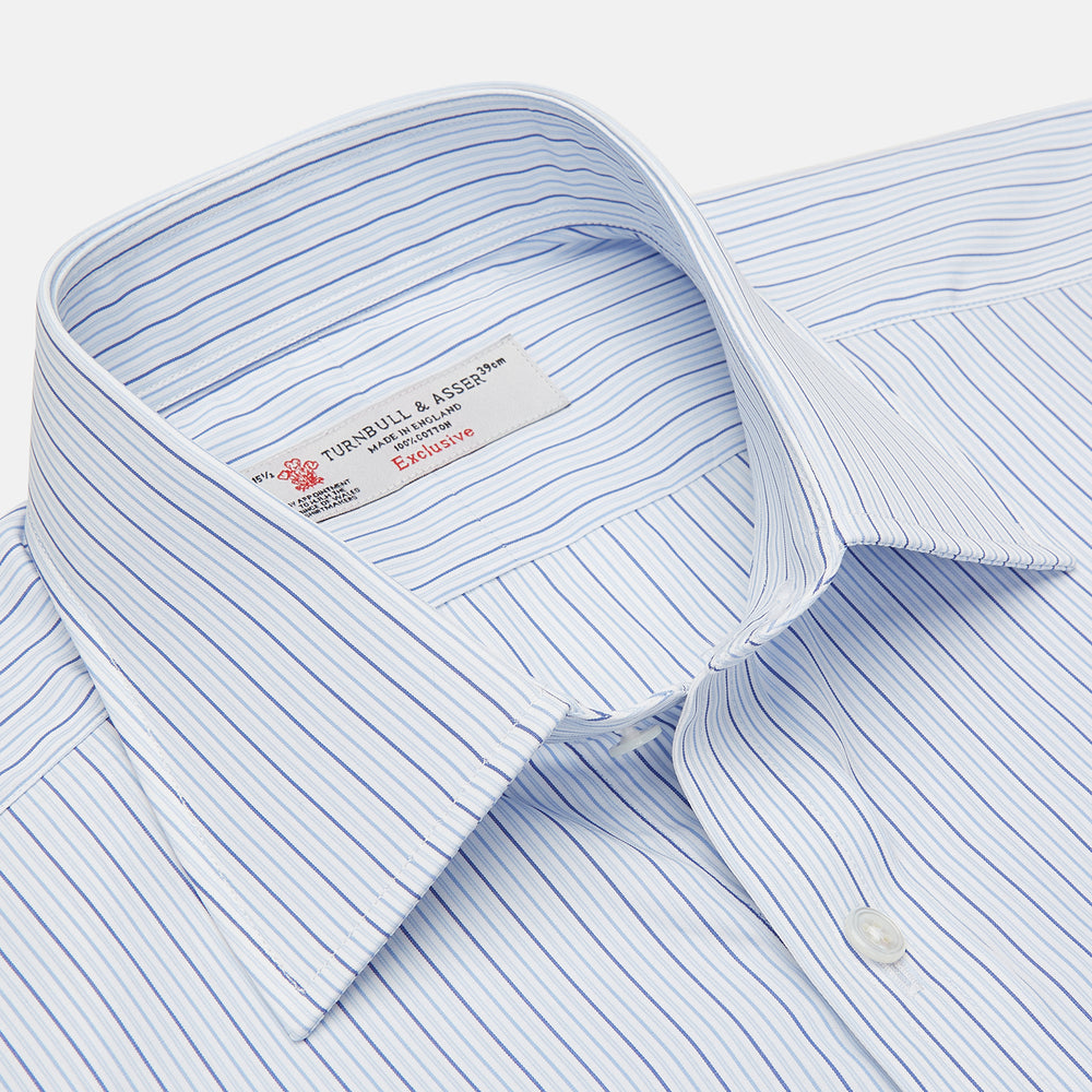 Blue Small Stripe Shirt with T&A Collar and 3-Button Cuffs