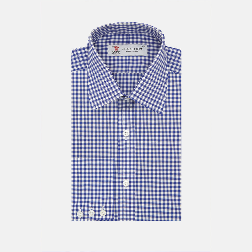 Navy & White Gingham Check Cotton Regular Fit Shirt with T&A Collar & 3-Button Cuffs