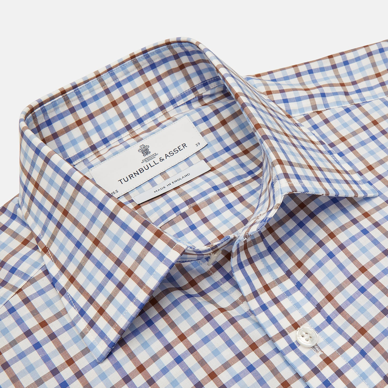 Blue, Brown and Navy Check Shirt with T&A Collar and 3-Button Cuffs