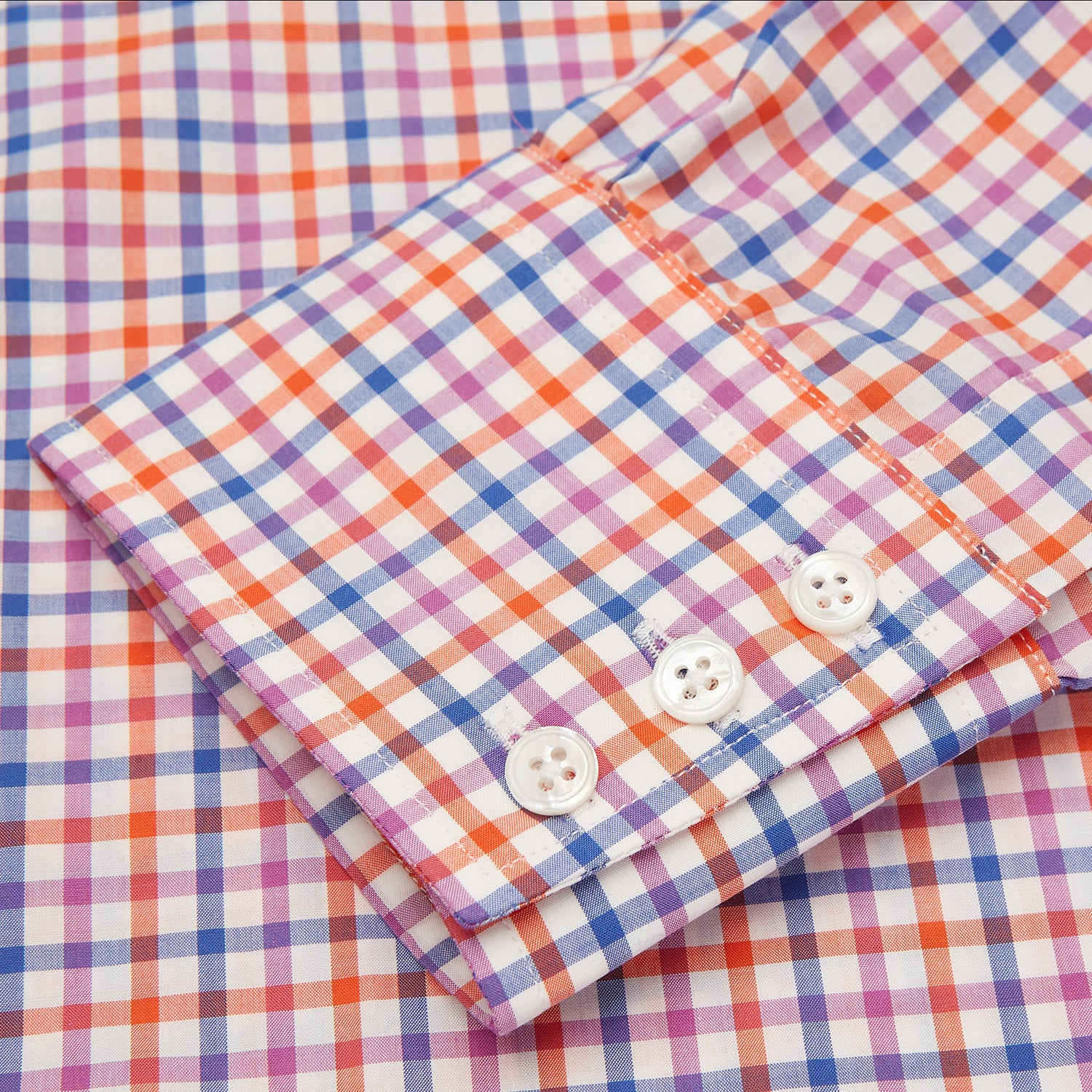 Blue, Pink and Orange Check Shirt with T&A Collar and 3-Button Cuffs