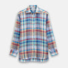 Blue and Teal Madras Check Regular Fit Linen Shirt with T&A Collar and 3-Button Cuffs