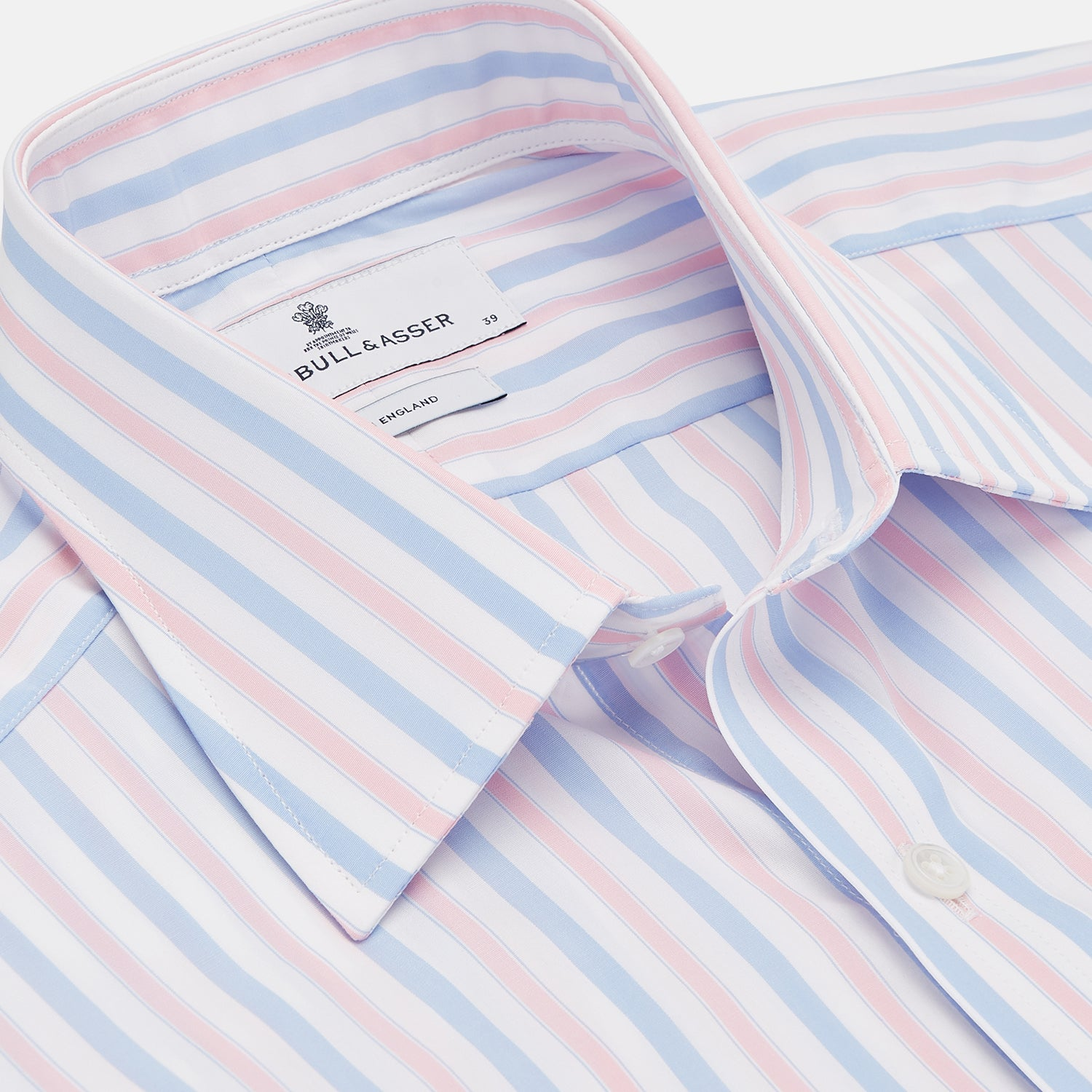 Blue and Pink Stripe Poplin Shirt with T&A Collar and 3-Button Cuffs