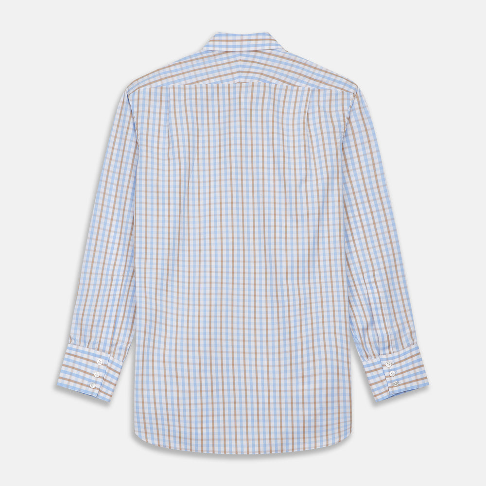 Blue and Brown Check Poplin Shirt with T&A Collar and 3-Button Cuffs