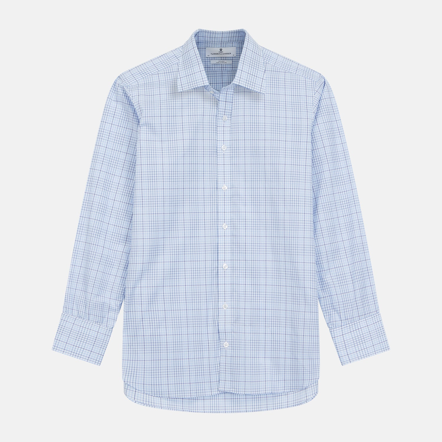 Blue Fine Check Shirt with T&A Collar and Three-Button Cuffs