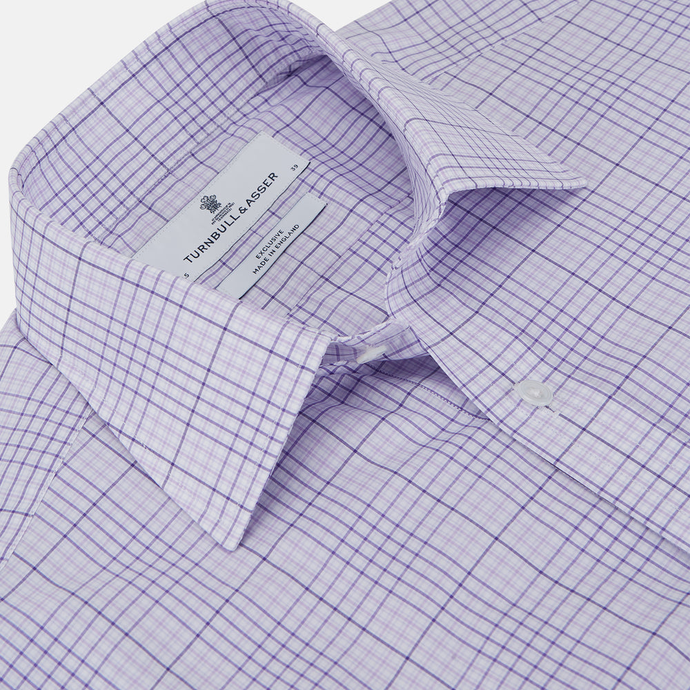 Lilac Fine Check Shirt with T&A Collar and Three-Button Cuffs