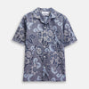Blue & White Tapestry Weave Cotton Holiday Fit Shirt