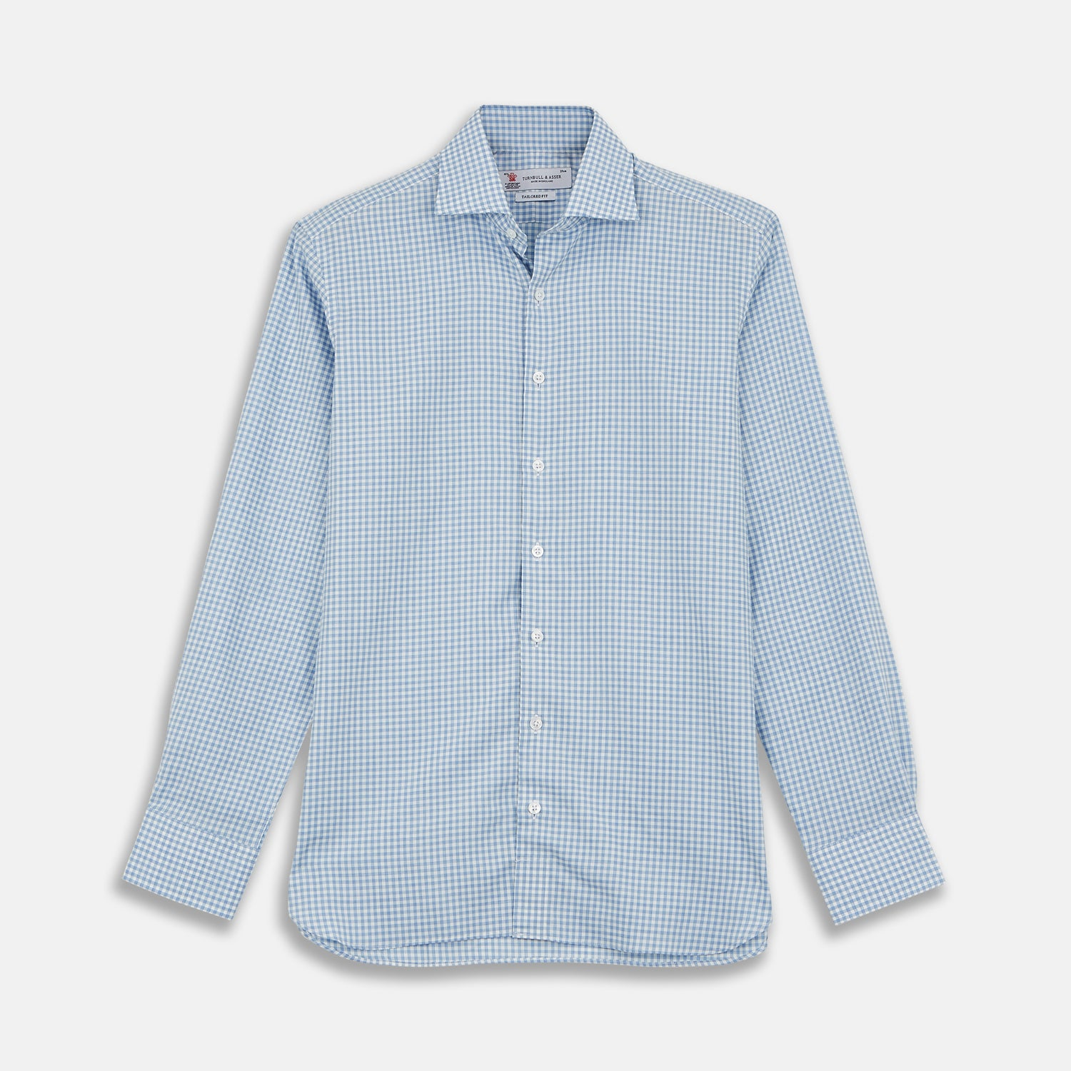 Tailored Fit Light Blue Gingham Shirt with Kent Collar and 2-Button Cuffs