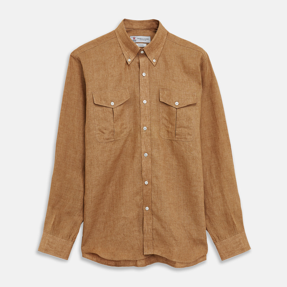 Brown Linen Officer Weekend Fit Shirt with Dorset Collar and 1 Button Cuff