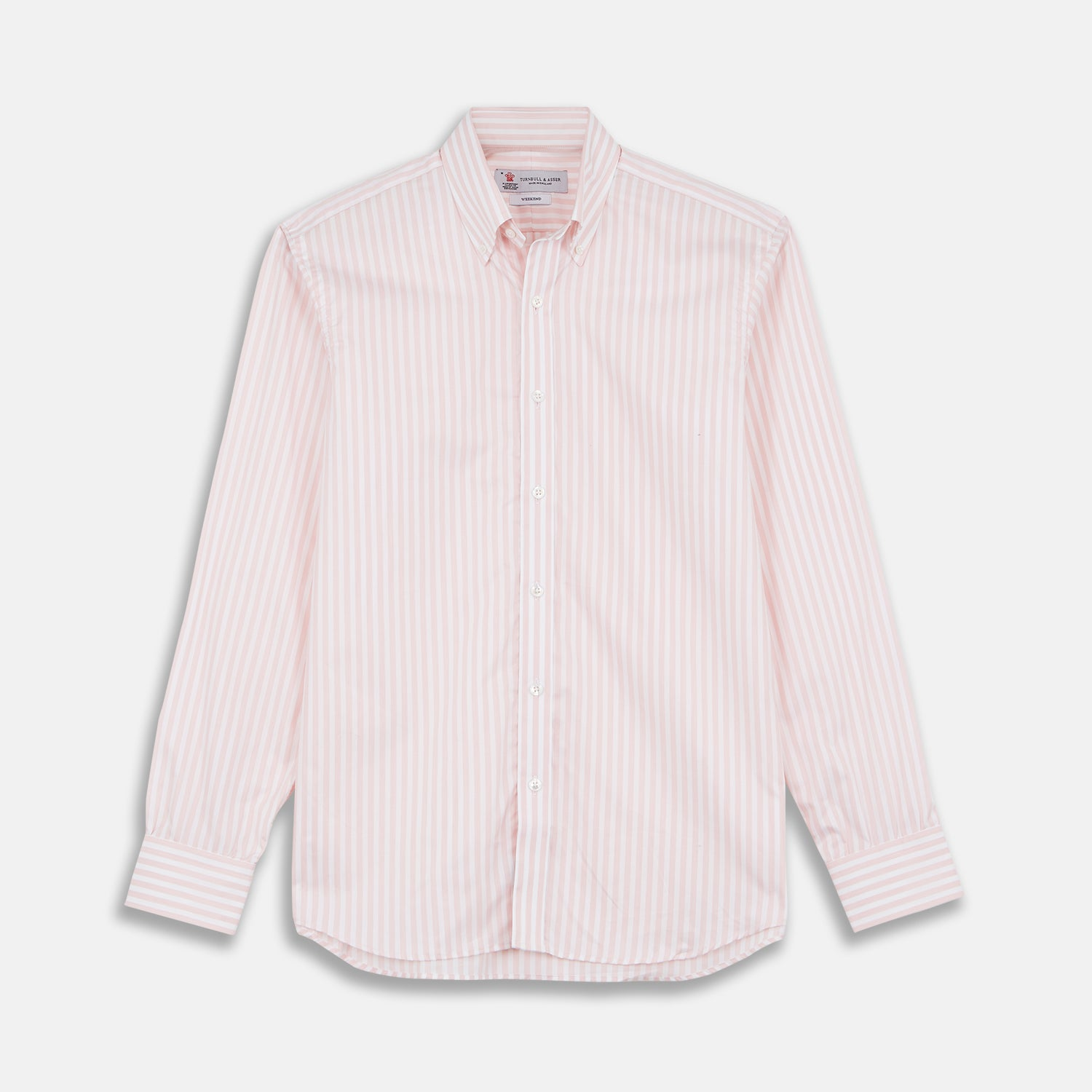 Weekend Fit Pink Stripe Cotton Shirt with Dorset Collar and 1-Button Cuffs