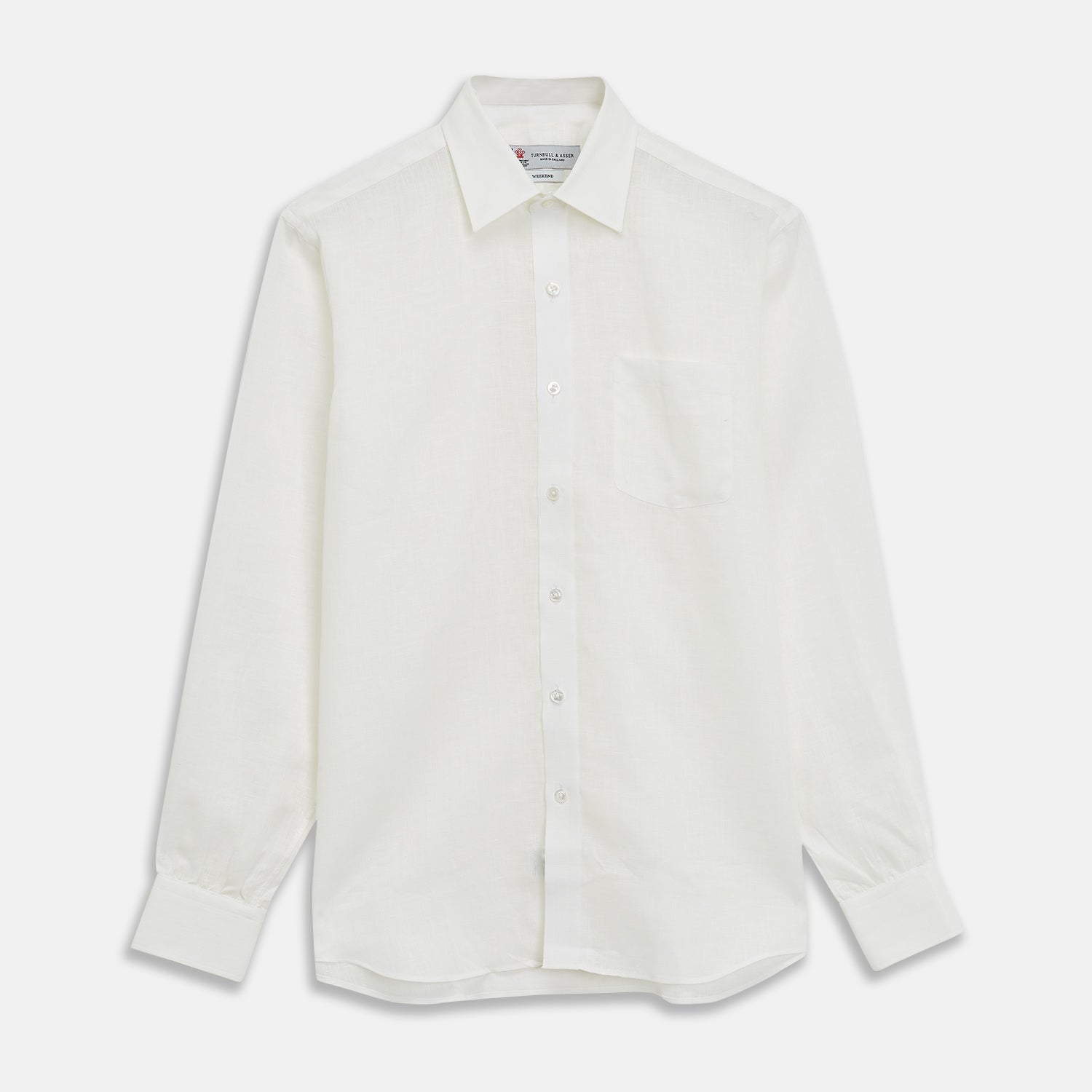 Cream Linen Weekend Fit Shirt with Derby Collar and 1-Button Cuffs