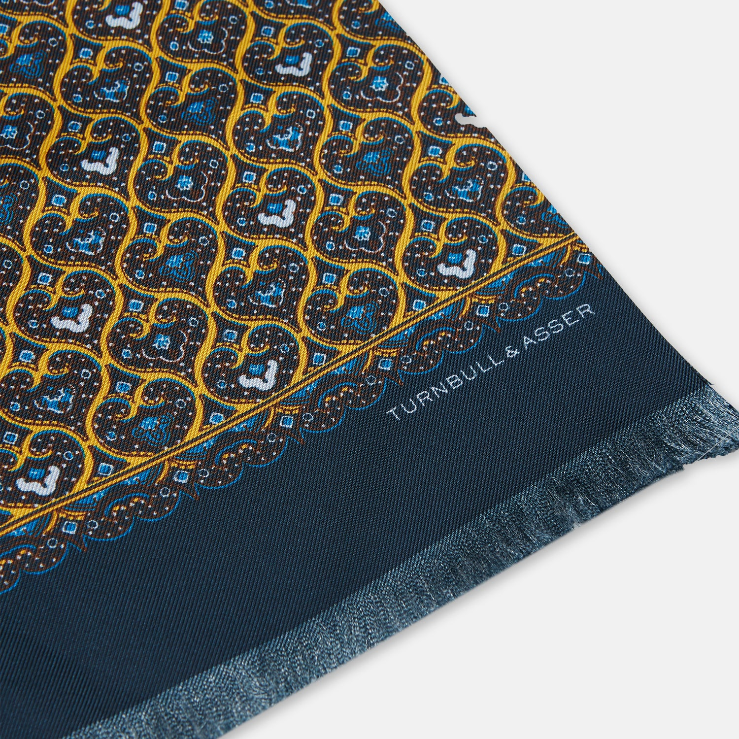 Golden and Navy Hearts Print Silk Scarf