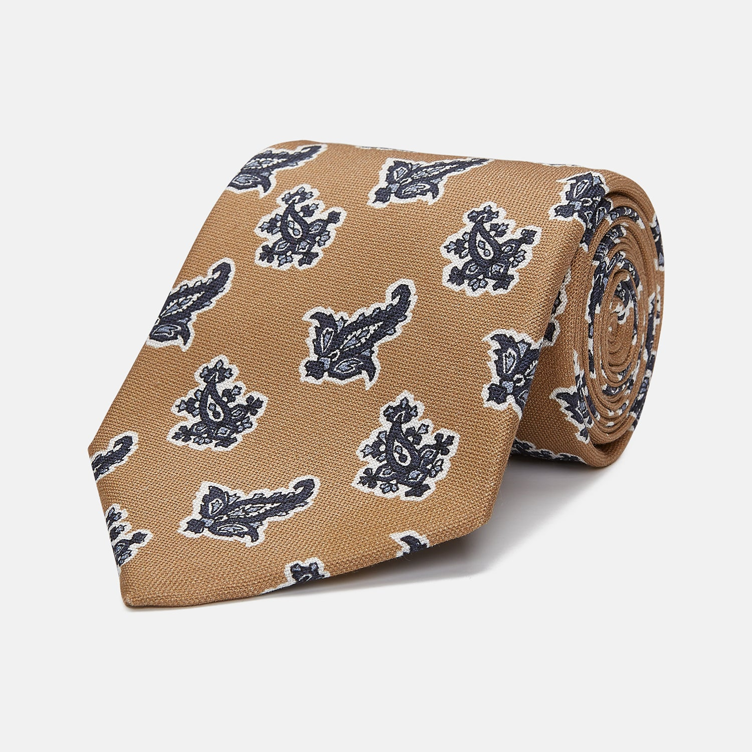 Toffee Paisley Floral Cotton Silk Blend Tie