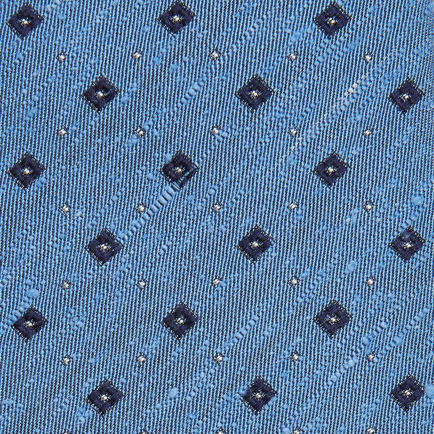 Dark Blue Fine Square Slub Silk Tie