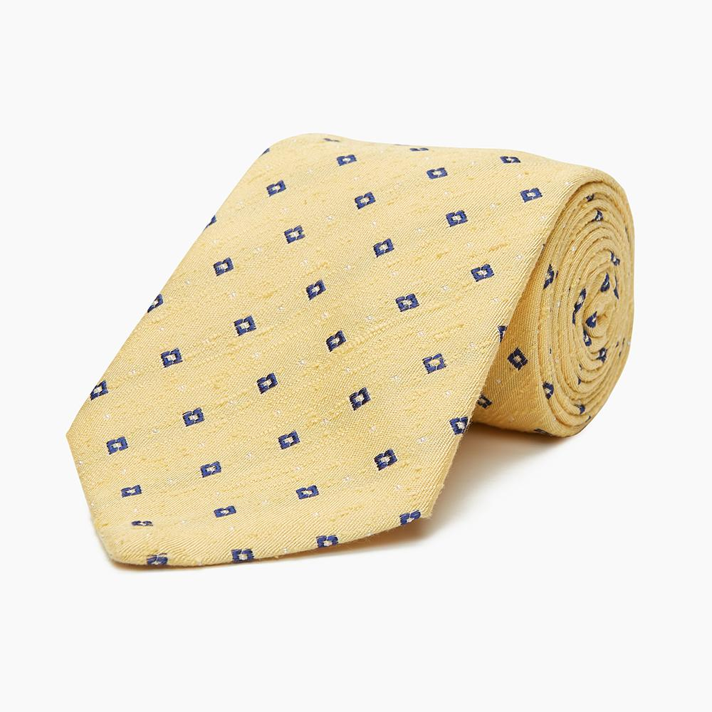 Yellow Fine Square Slub Silk Tie