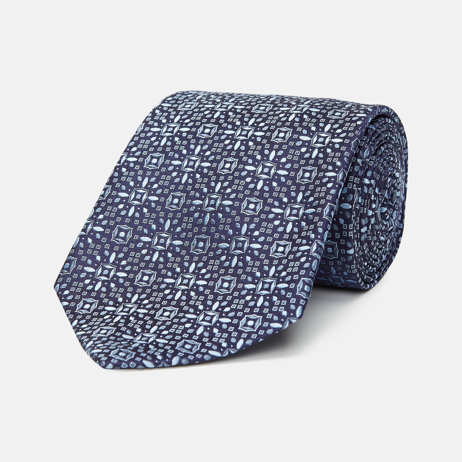 Midnight Blue Floral Silk Jacquard Tie