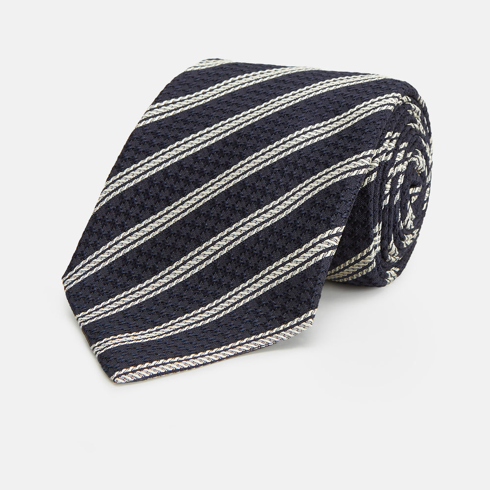 Navy and White Lace Stripe Silk Tie