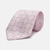 Baby Pink and Blue Circle Jacquard Silk Tie