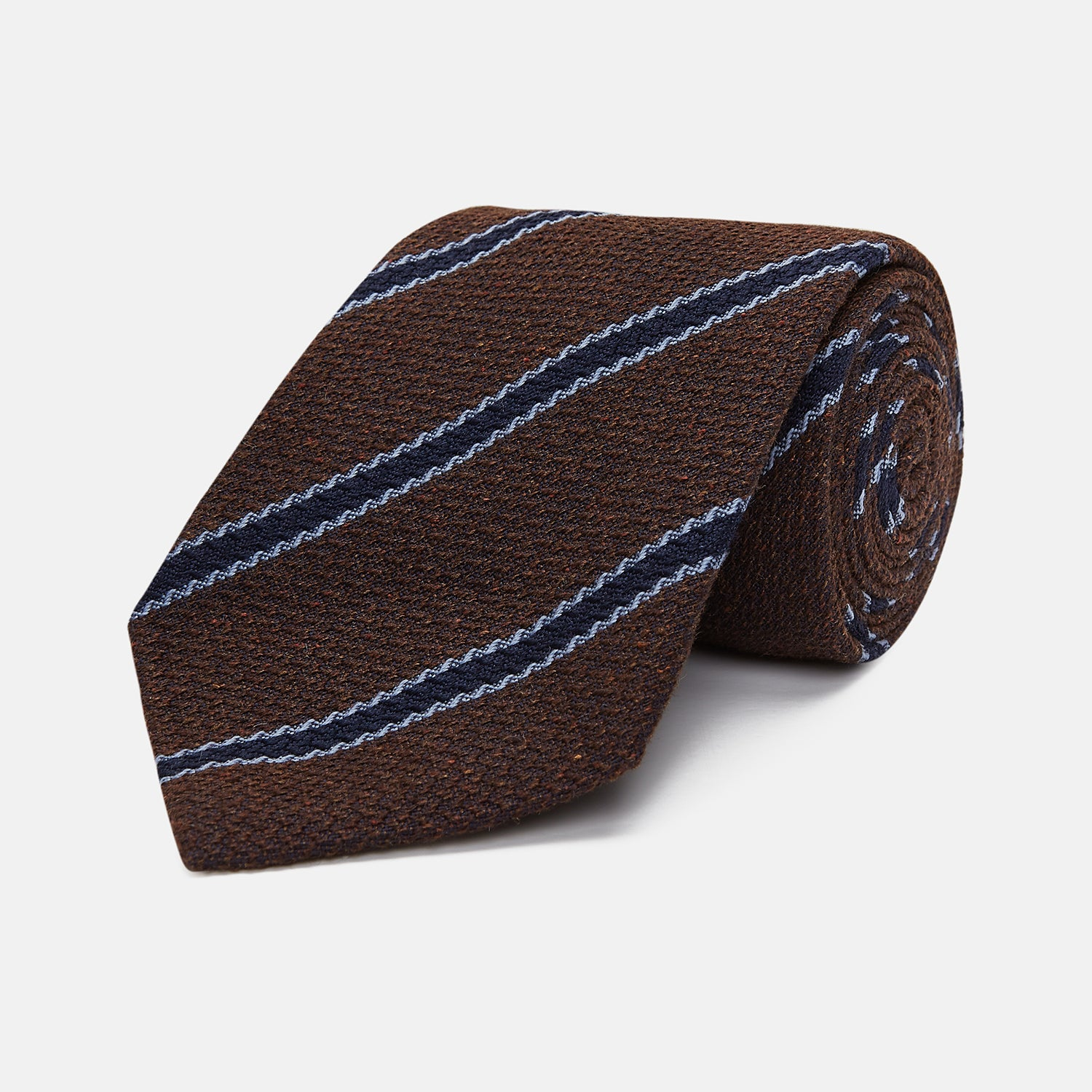 Chocolate Brown Stripe Wool and Silk Tie