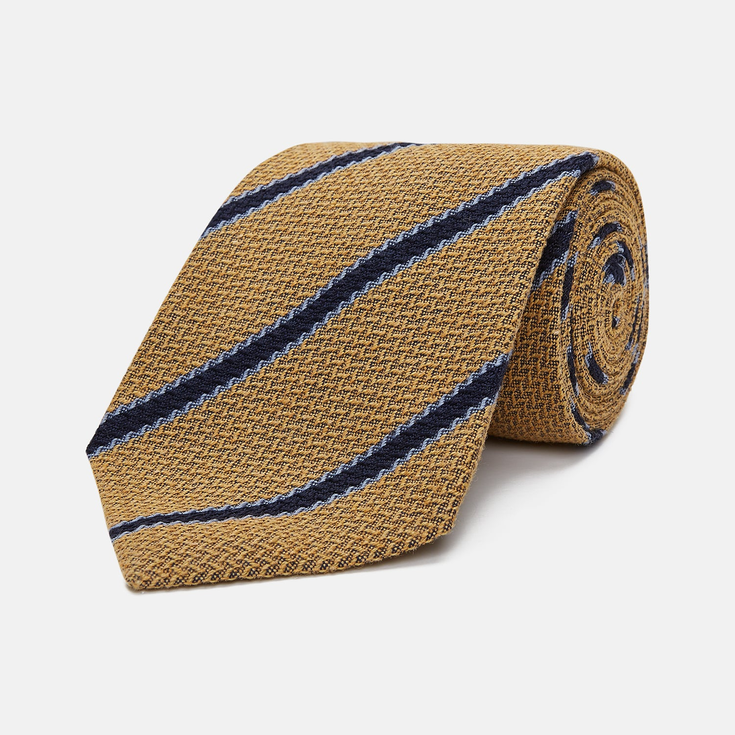 Yellow Stripe Wool and Silk Tie