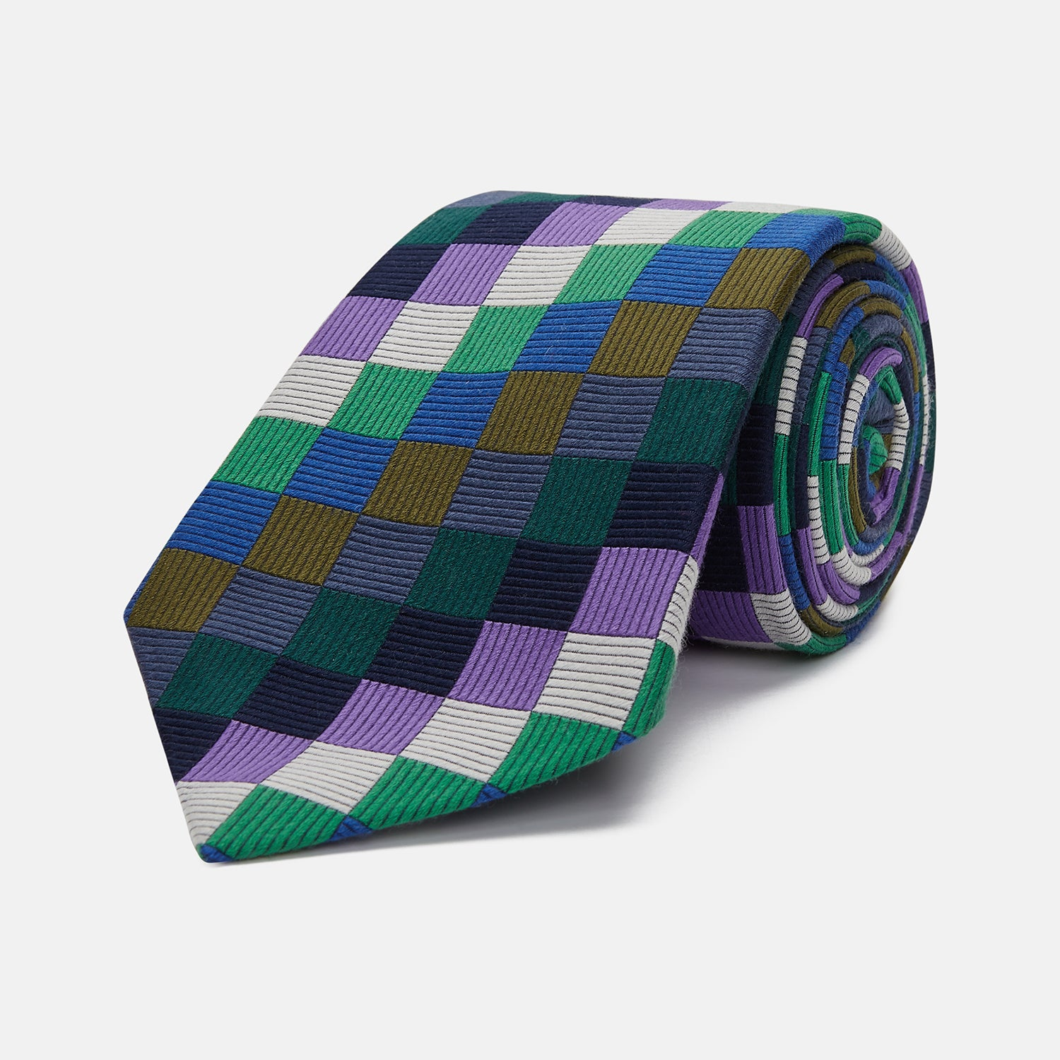 Multicoloured Checkerboard Silk Jacquard Tie