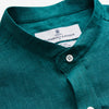 Teal Weekend Fit Long Sleeve Linen Shirt with Stand Collar and 1-Button Cuff