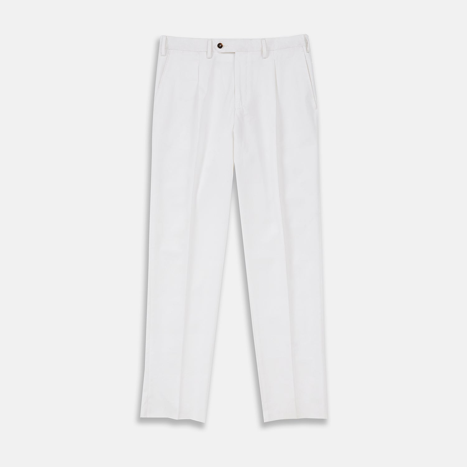 White Cotton Pleated Trousers