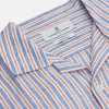 Blue and Red Linen Stripe Holiday Fit Shirt with Revere Collar