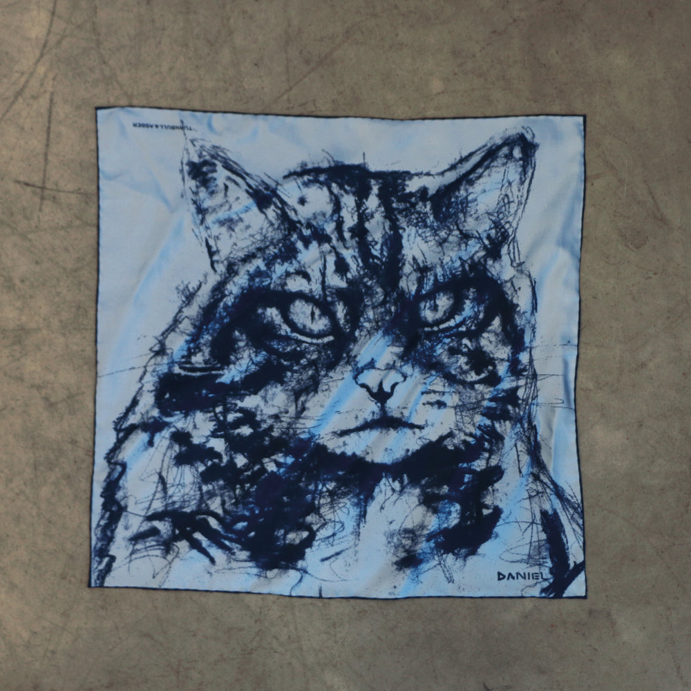 DANIEL PERKIN BLUE WILDCAT POCKET SQUARE