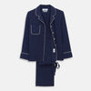 Women's Harriet Navy Silk Pyjama Set