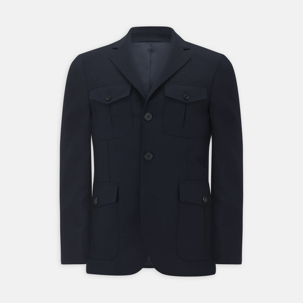 Navy Lightweight Wool Hopsack Traveller Jacket