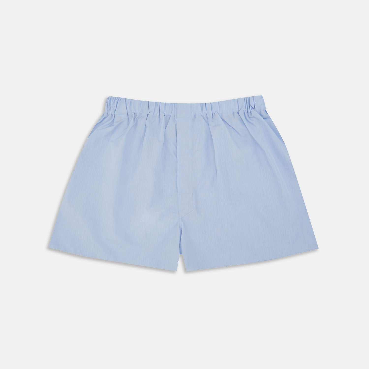 Plain Blue Sea Island Quality Cotton Boxer Shorts