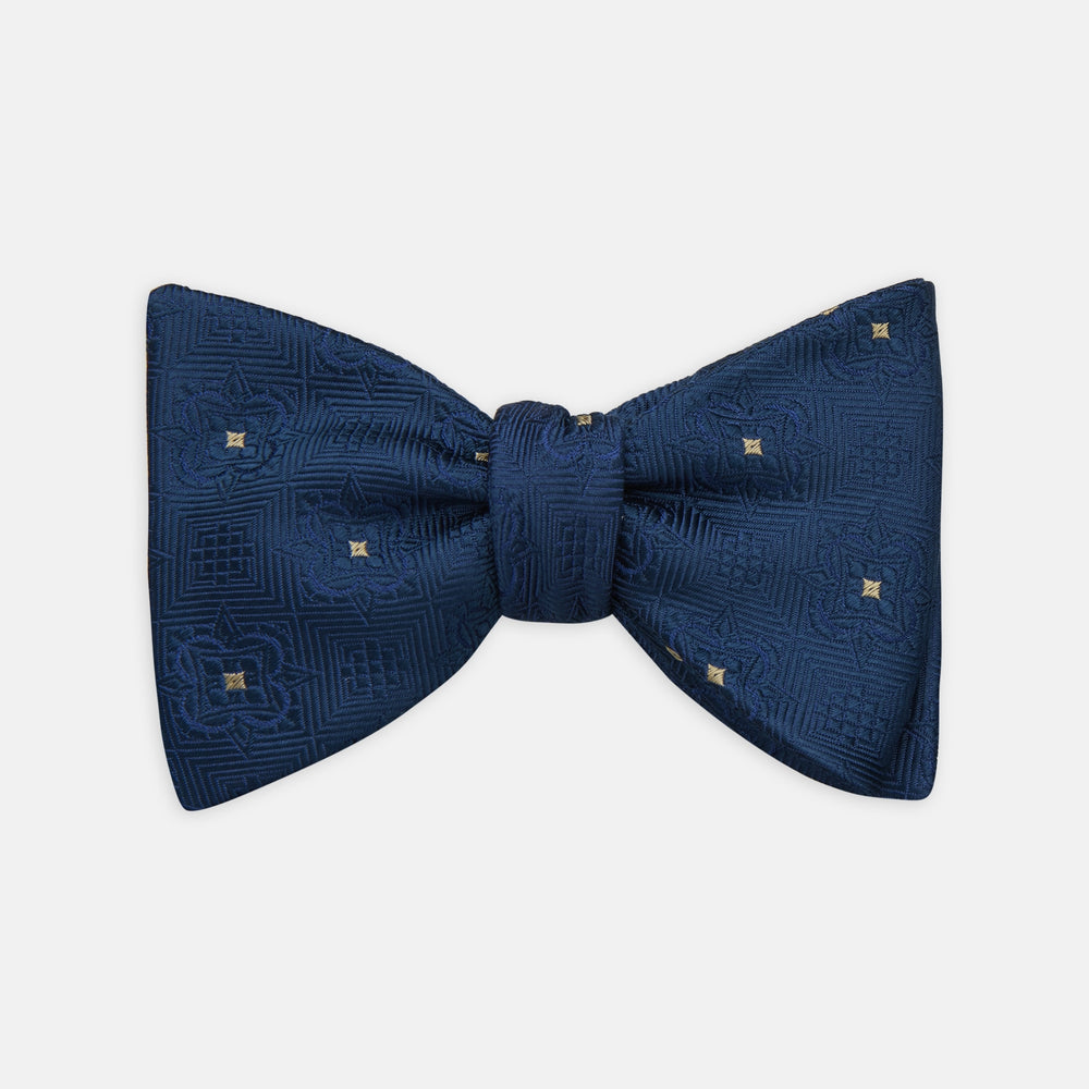 Navy Flower Mosaic Silk Bow Tie