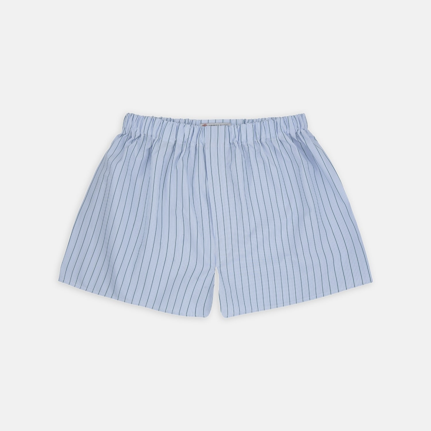 Sky Blue and Green Pinstripe Cotton Boxer Shorts