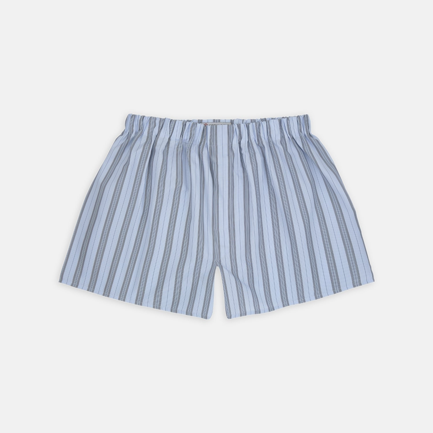 Grey, Turquoise and Sky Blue Mixed Stripe Cotton Boxer Shorts
