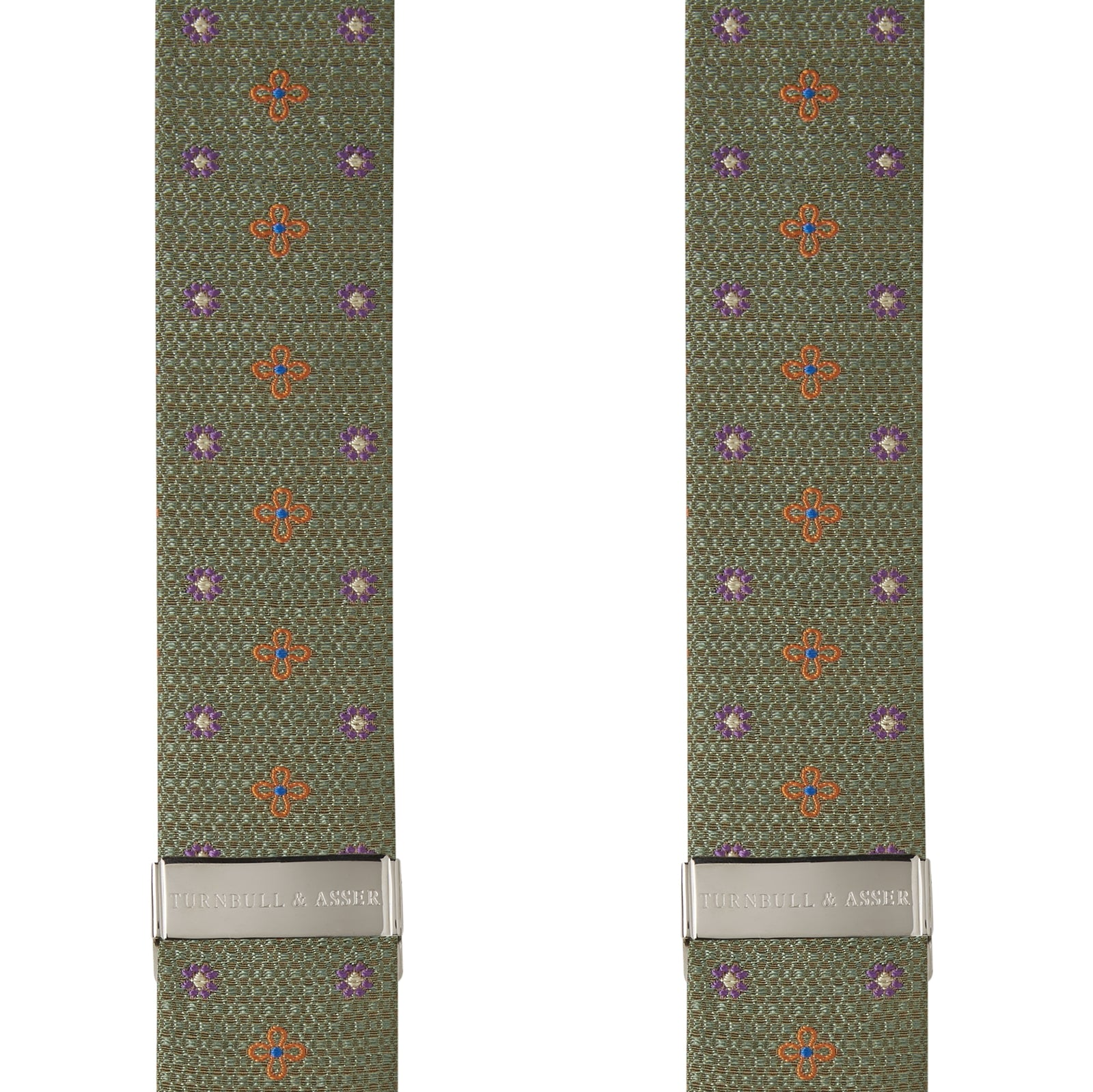 Leaf Green Floral Silk and Linen Adjustable Silk Braces