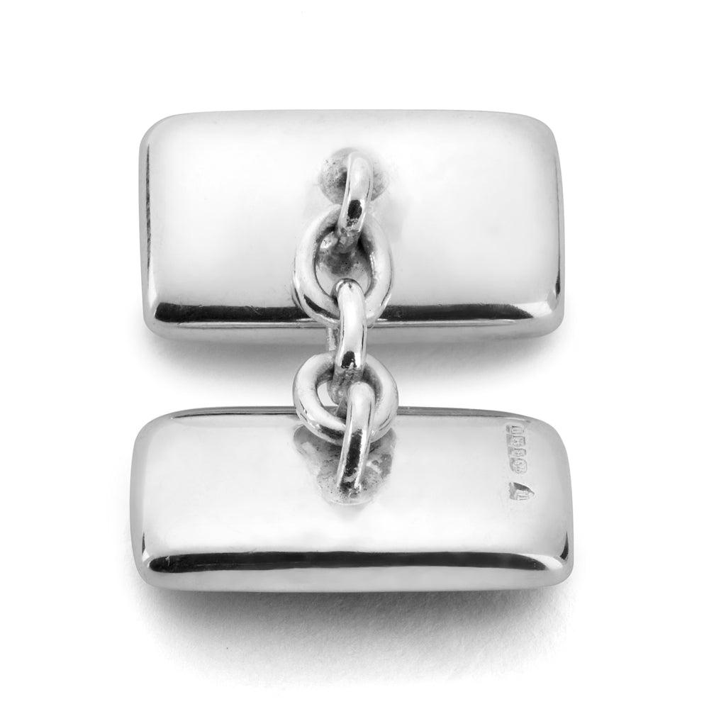 Reversible Monochrome Sterling Silver Rectangular Cufflinks