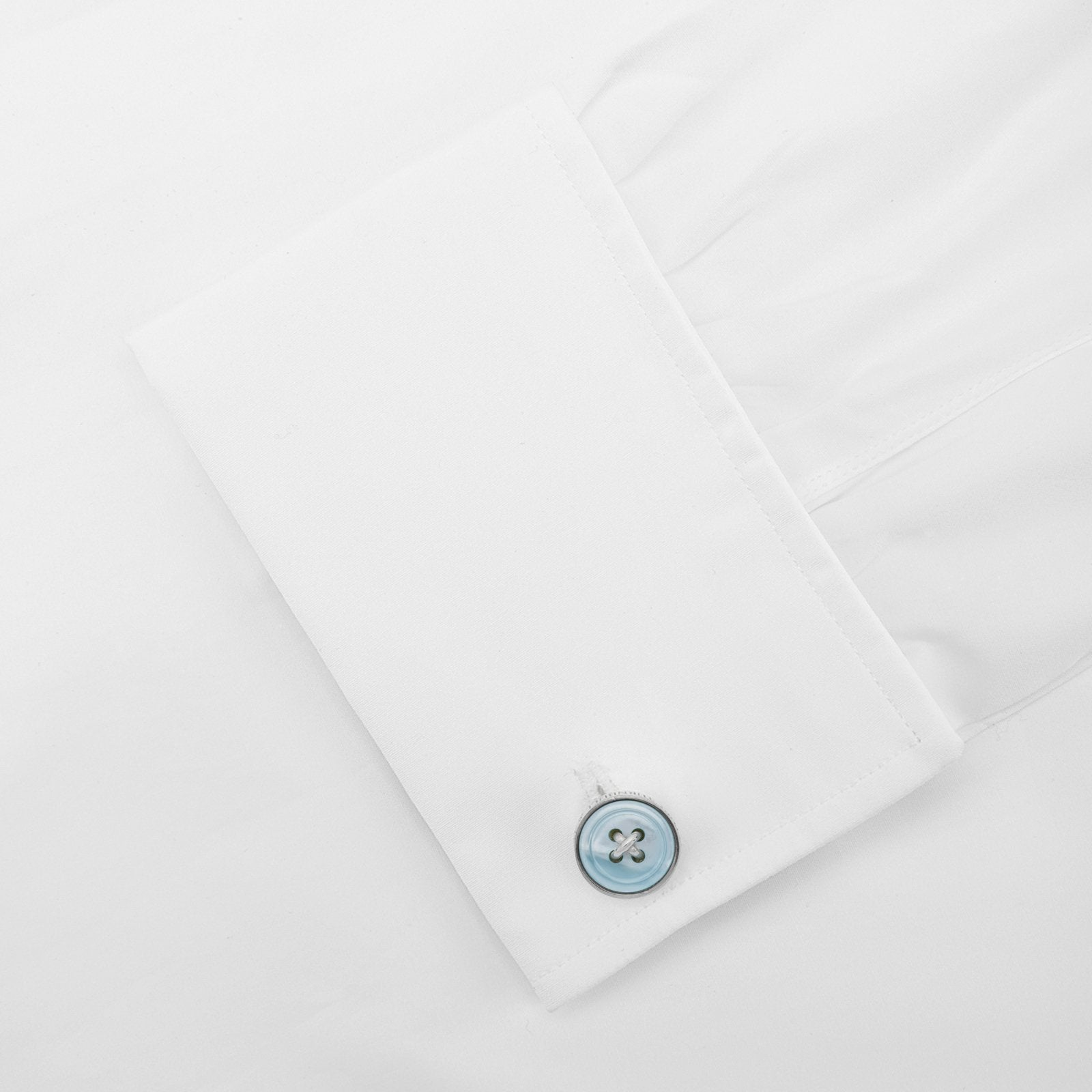 Monogrammed Blue Sterling Silver Button Cufflinks