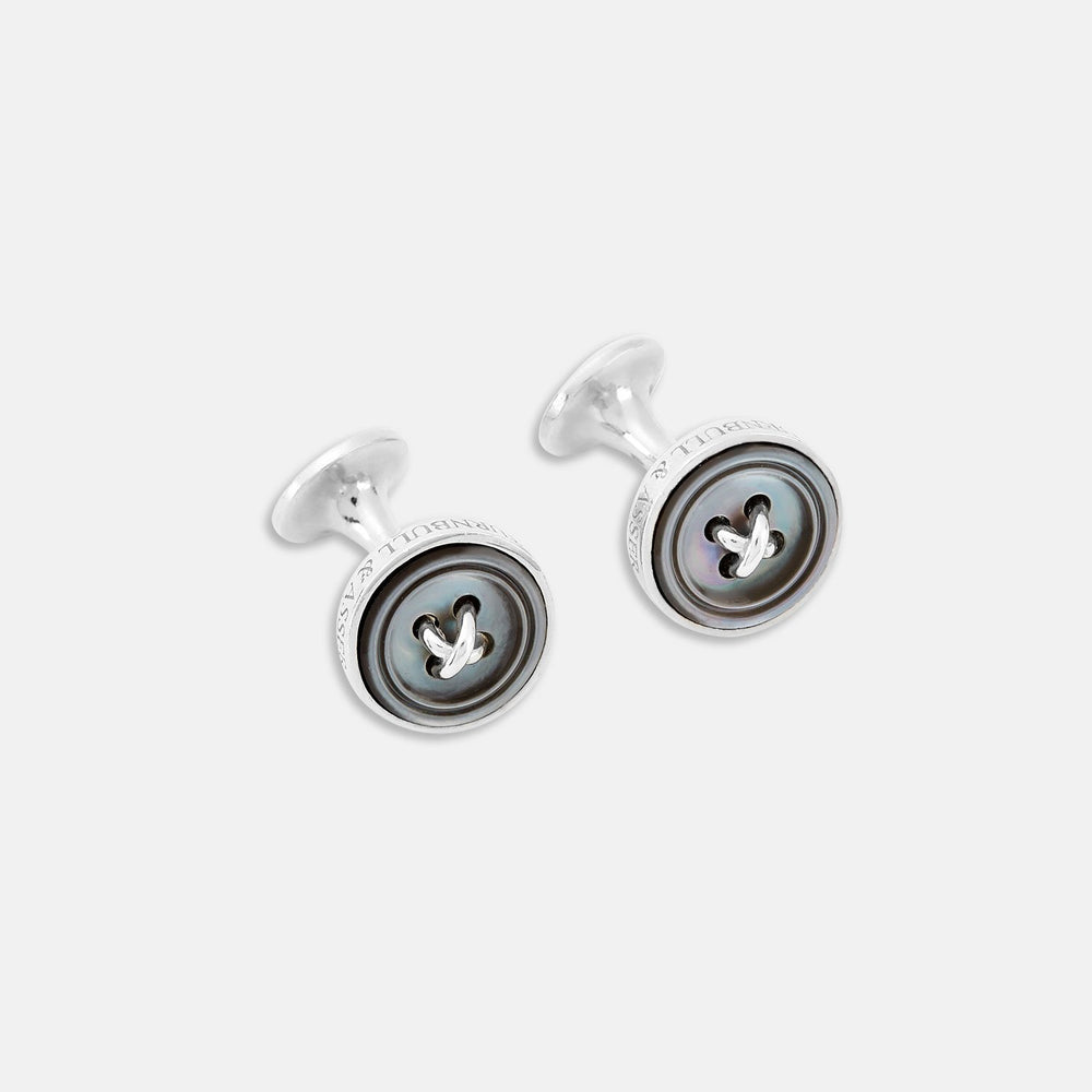 Monogrammed Smoke Sterling Silver Mother-of-Pearl Button Cufflinks