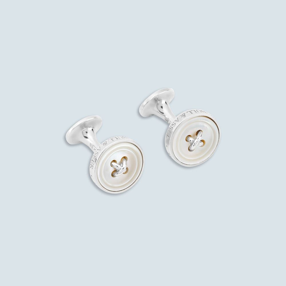 White Sterling Silver Button Cufflinks