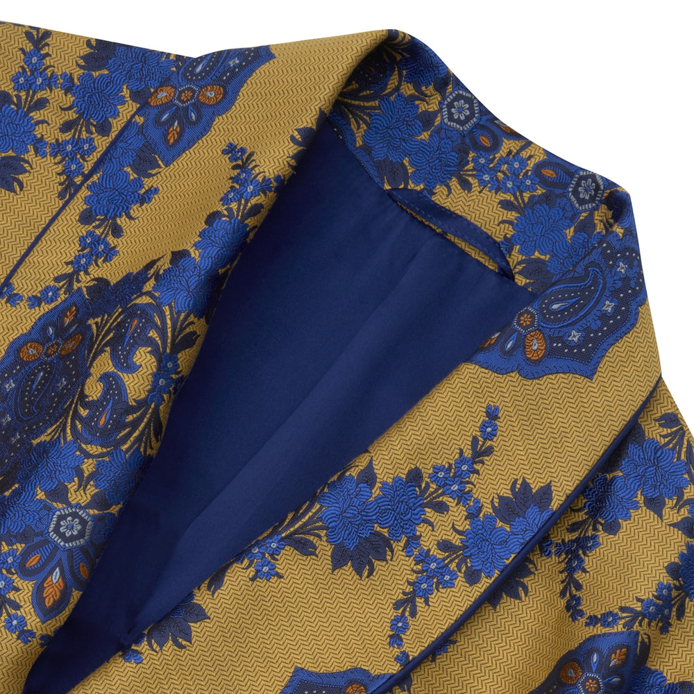 Yellow and Blue Floral Herringbone Silk Gown