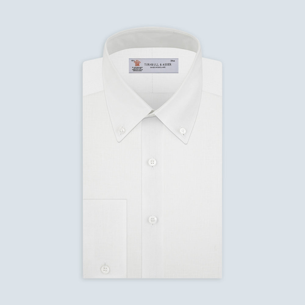 Weekend Fit Cream Linen Shirt with Dorset Collar and 1-Button Cuff