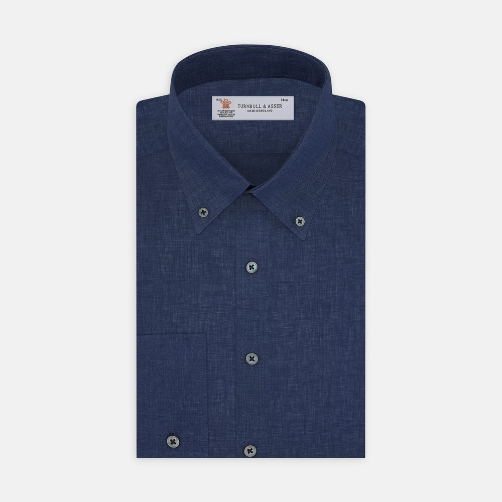 Weekend Fit Navy Linen Shirt with Dorset Collar and 1-Button Cuff