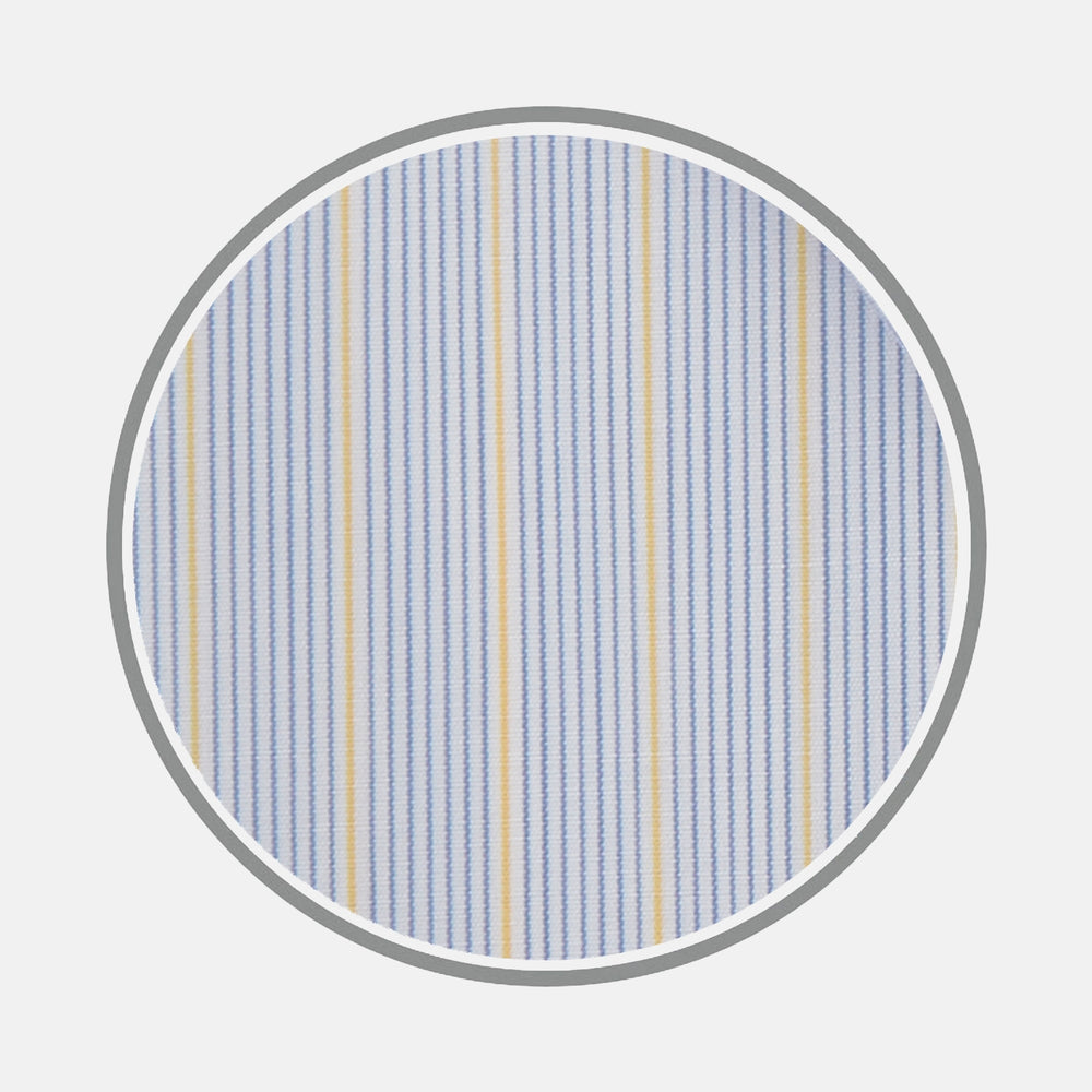 Blue and Yellow Fine Stripe Cotton Fabric