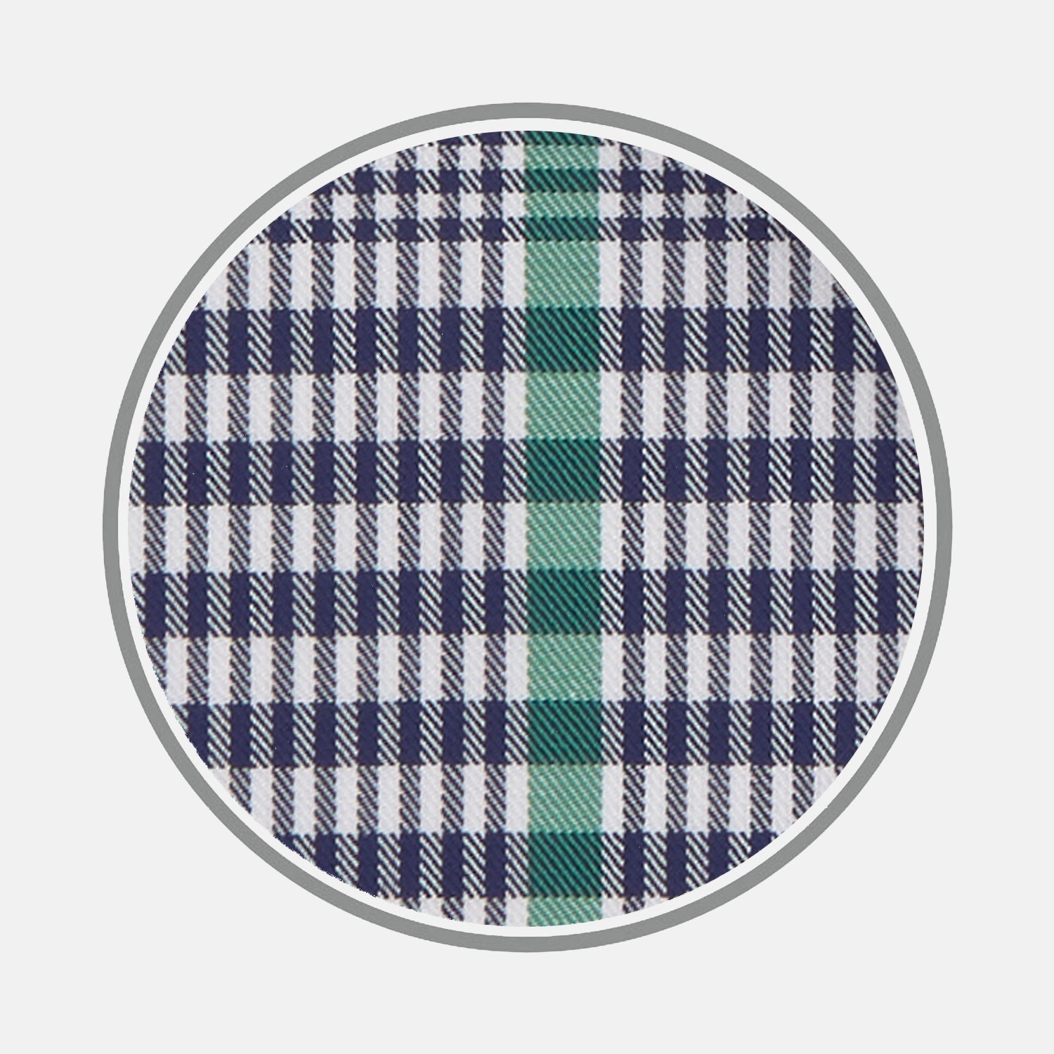 Navy and Green Prince of Wales Wide Check Cotton Fabric