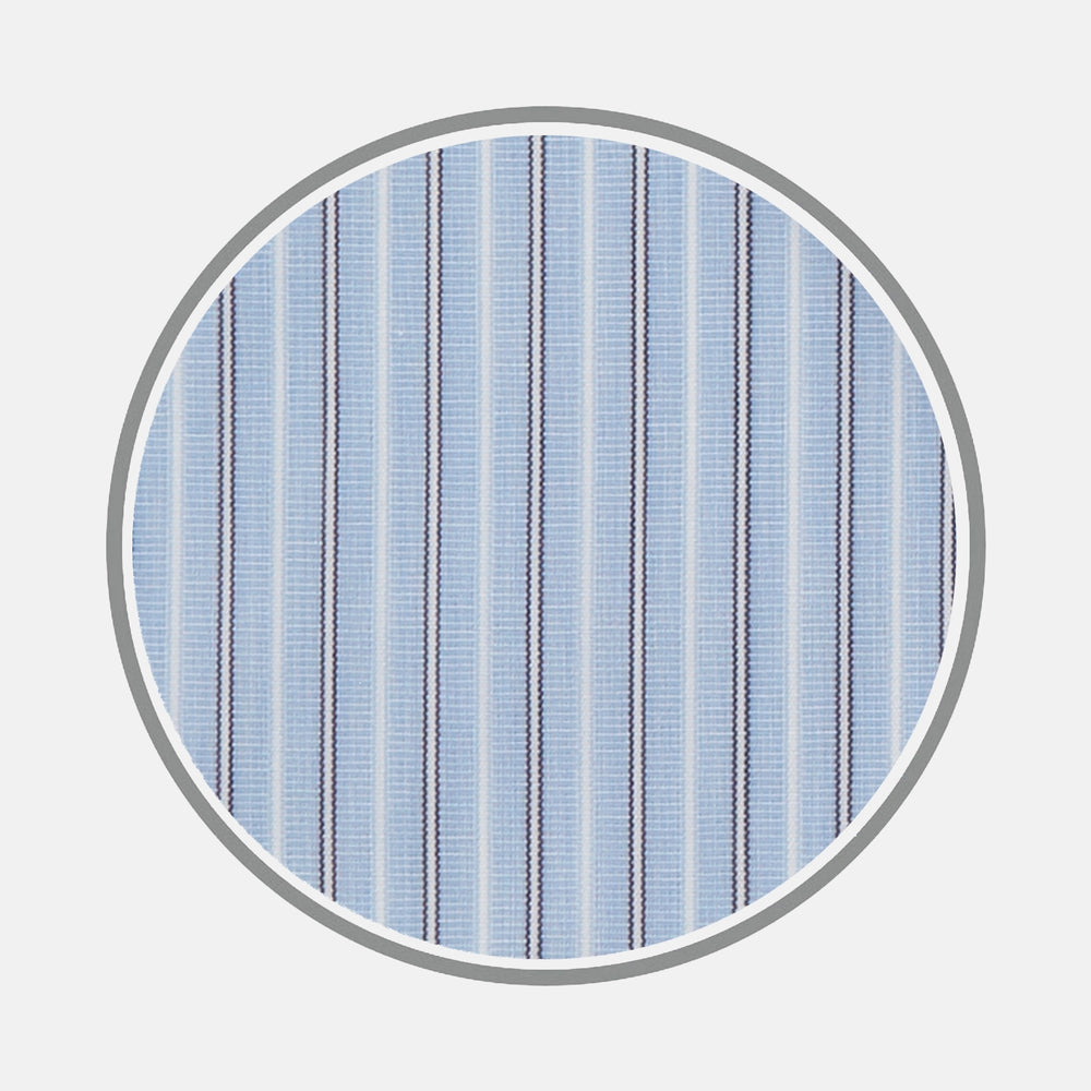 Blue and Navy Multi Stripe Sea Island Quality Cotton Fabric