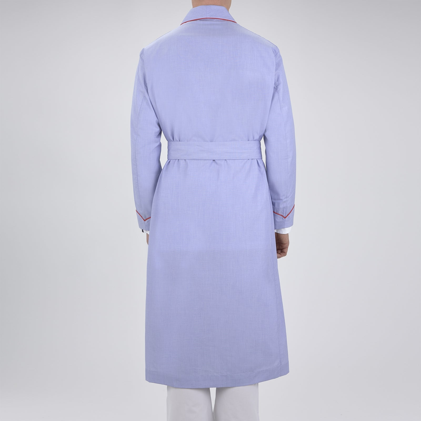 Light Blue Piped End-On-End Cotton Gown