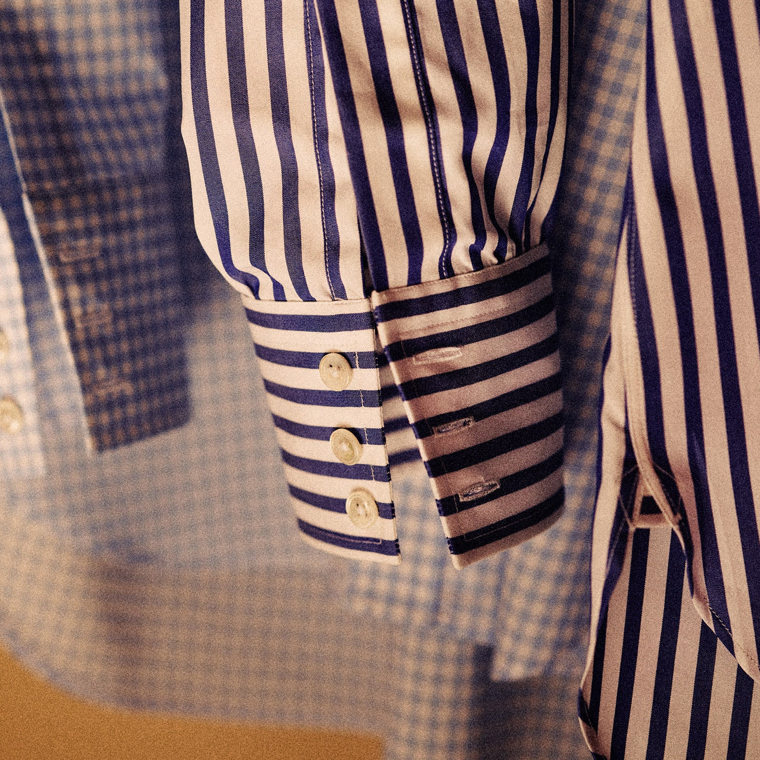 Blue and White Wide Stripe Shirt with T&A Collar and 3-Button Cuffs