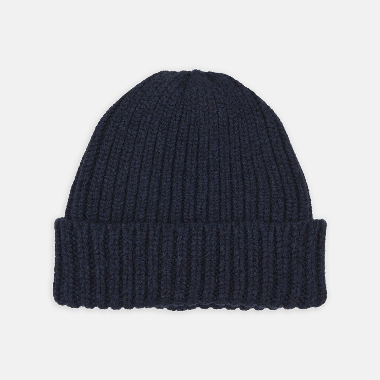 Navy Ribbed Cashmere Hat